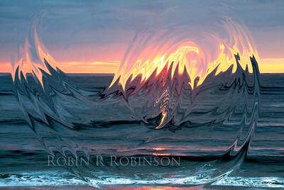 Flaming eagle at sunrise