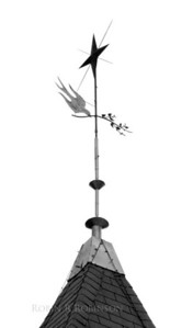 antique weathervane of dove of peace and laurel branch with star, Maine coast