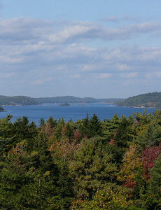 Atkins Bay and the Kennebec River looking north from Cox's Head, Phippsburg Maine in October, autumn scenic image
