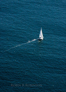 Sailboat, Maine coast aerial view