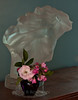 The last roses of summer, and Firebird #37, Fredrick Hart Lucite sculpture with roses, Rosa Gutendorst and purple Fenton glass pitcher