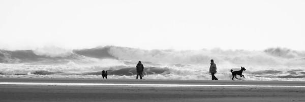 Popham Beach State Park, Phippsburg Maine scenic. Walking in the winter