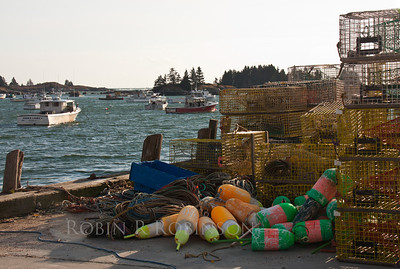 Carver Harbor, Vinalhaven, Maine bouys, traps and lobster boats