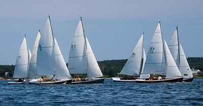 Small Point One Design sailboats, regatta August 4, 2012, Phippsburg Maine