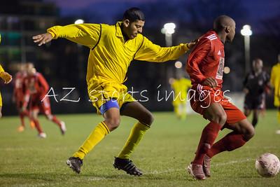 Liton Zaman guids out a London Bari forward from the box