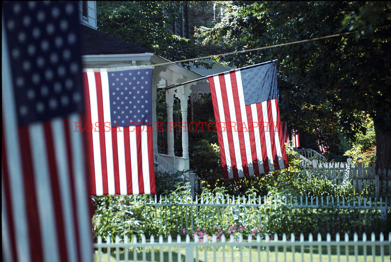 Flags in sag Harbor for the 4th of July Weekend