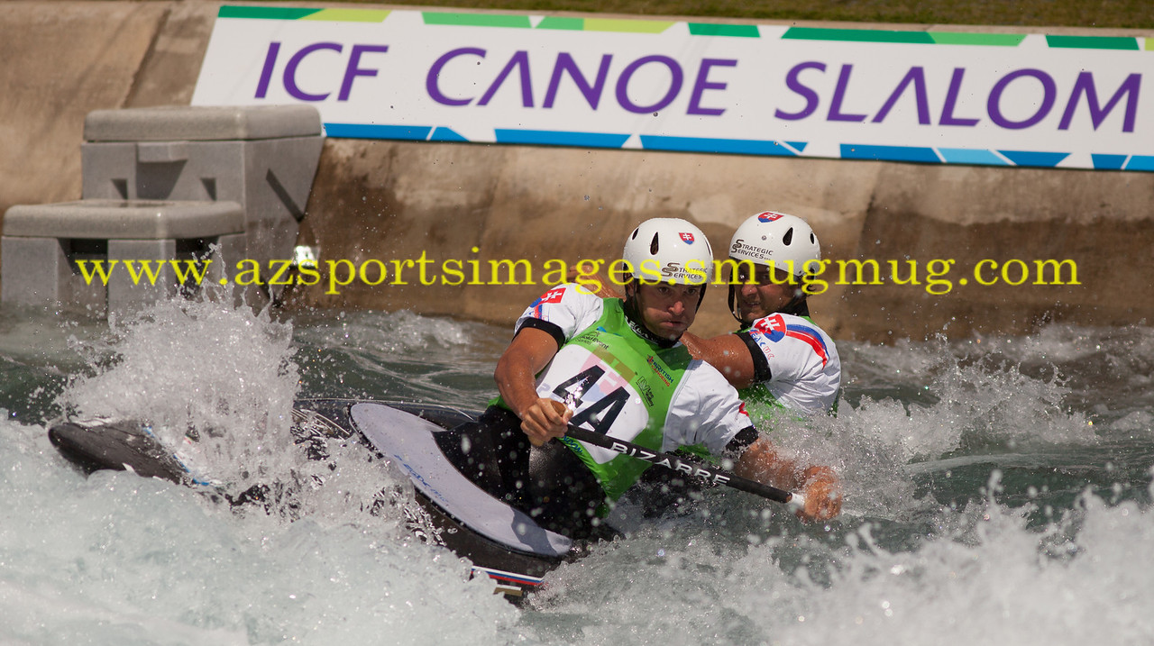 LADISLAV SKANTAR and PETER SKANTAR of Slovakia in the Men's Canoe Double (C2) final at the 2014 ICF Canoe Slalom World Cup at Lee valley White Water Centre