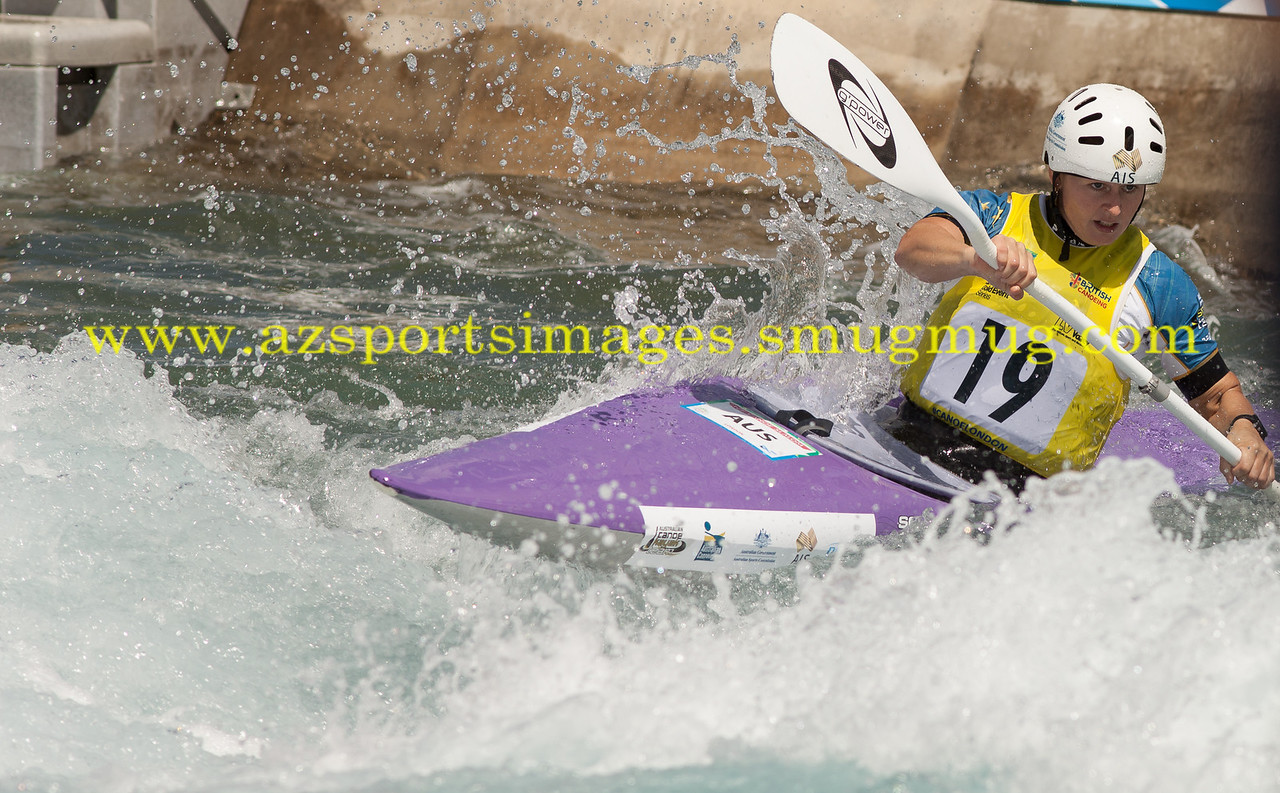SARAH GRANT-Australia-Women's Kayak (K1) Final. 2014 ICF Canoe Slalom World Cup- Lee Valley White Water Centre