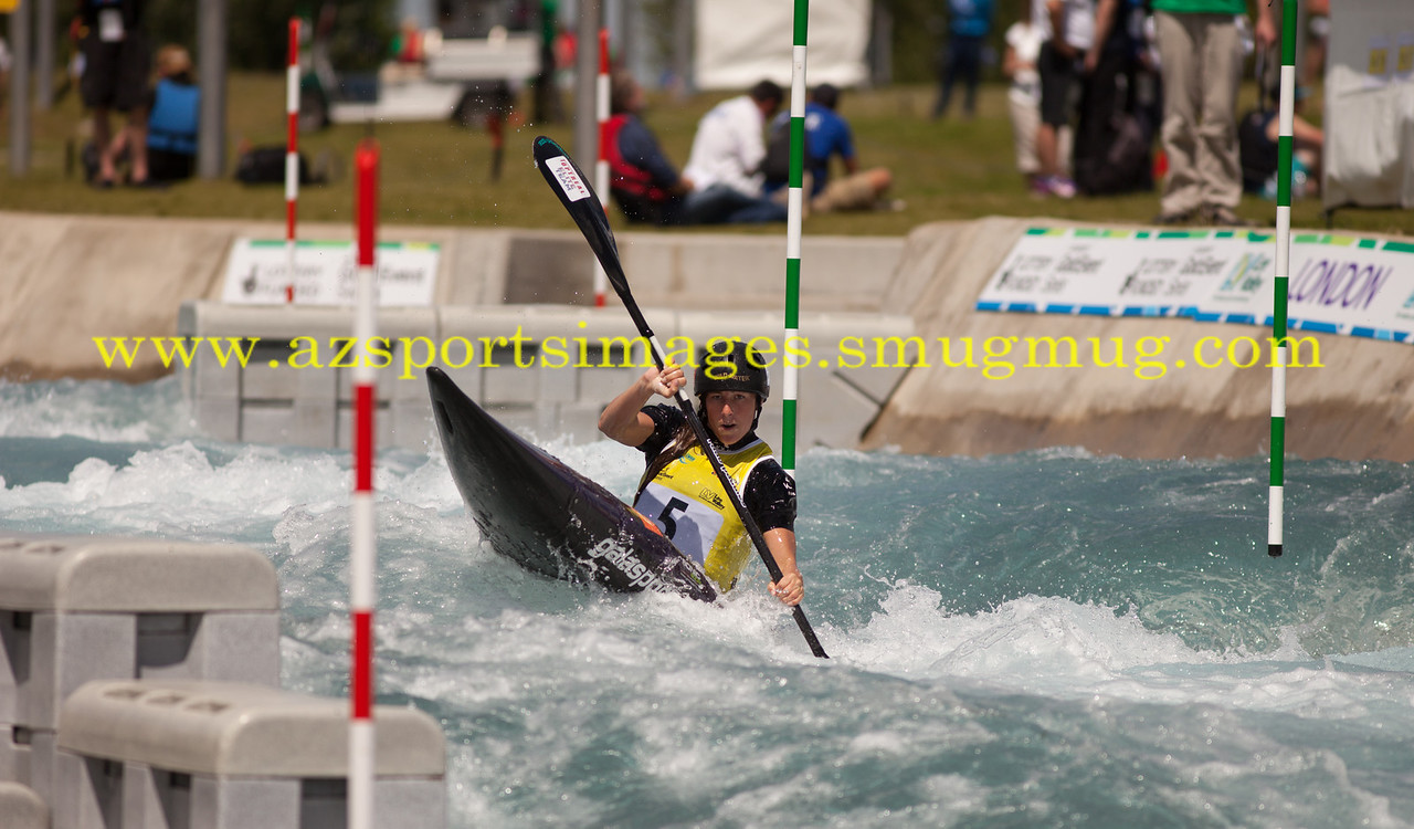 KATERINA KUDEJOVA-Czechoslovakia Women's Kayak (K1) Final. 2014 ICF Canoe Slalom World Cup- Lee Valley White Water Centre
