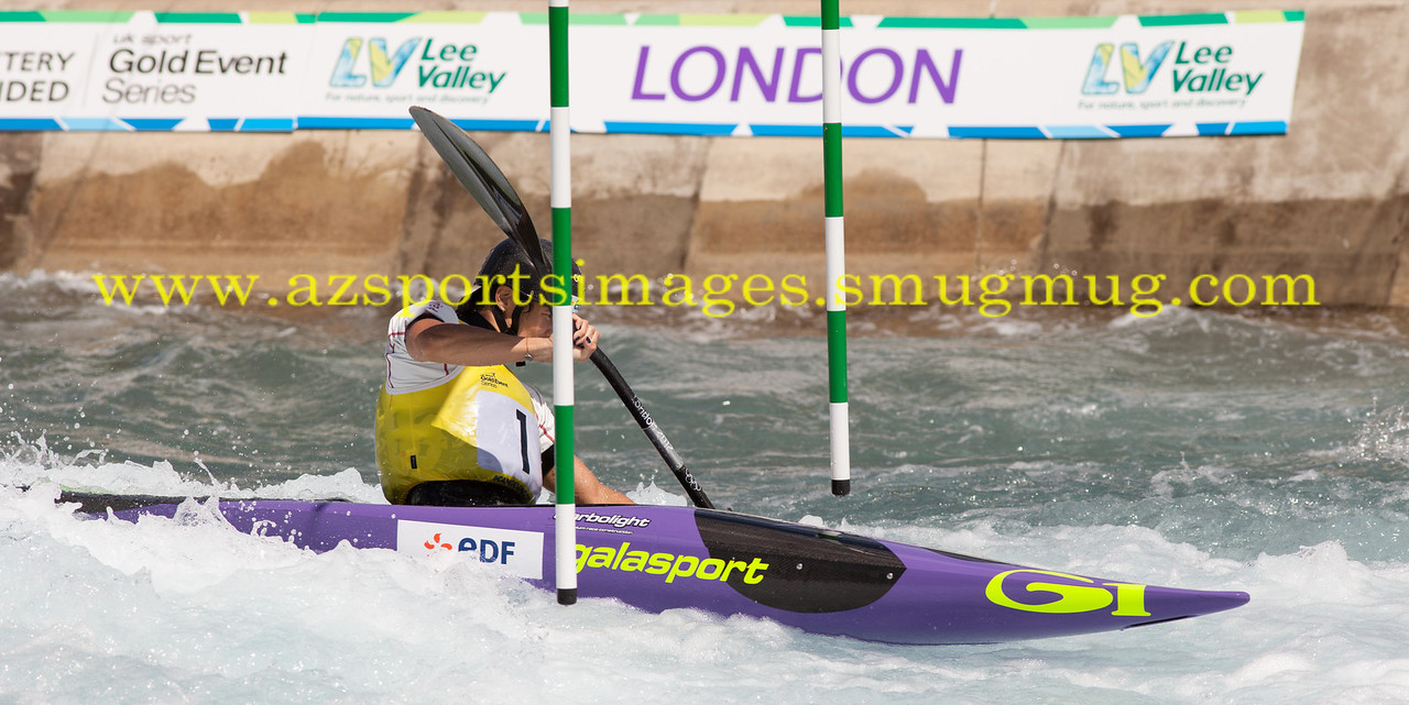EMILLE FER of France in the final of the Women's Kayak K1-2014 ICF Canoe Slalom World Cup Lee Valley  White Water Centre