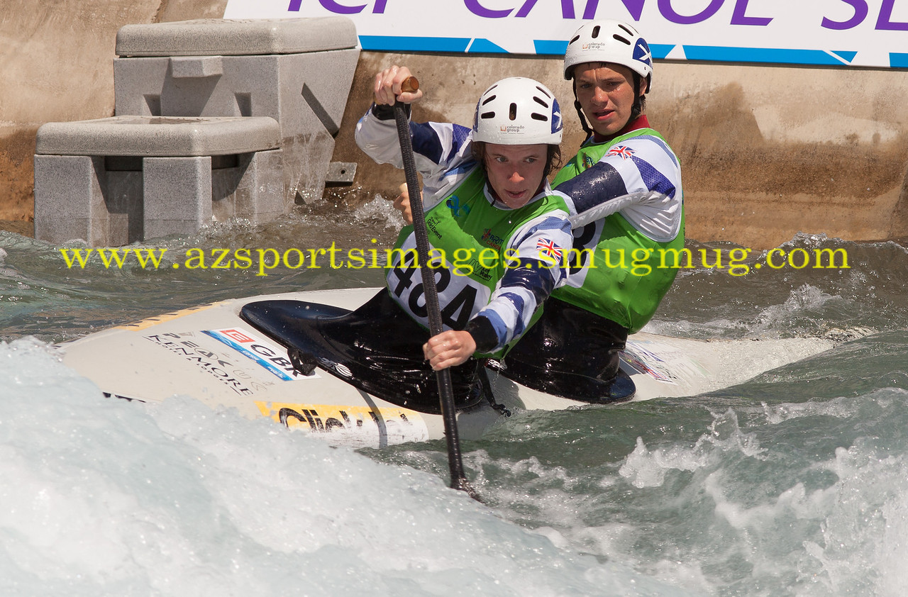 British pair in  Men's Canoe Double (C2) final at the 2014 ICF Canoe Slalom World Cup at Lee valley White Water Centre
