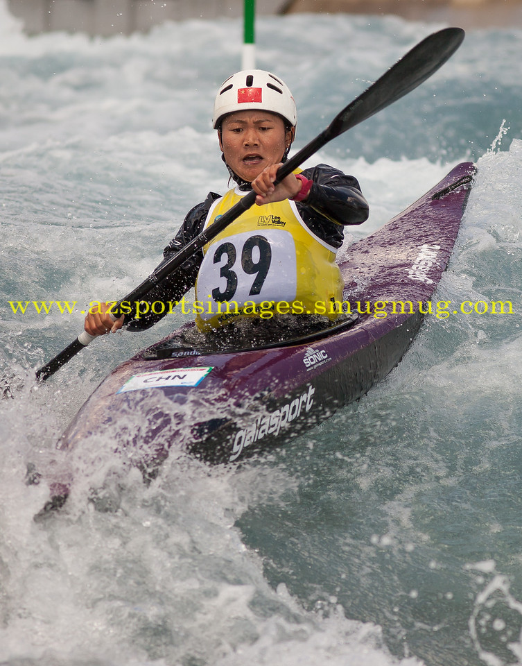 LI LU China becomes the first woman from her nation to win gold in the K1 Women's Kayak at the 2014 ICF Canoe Slalom World Cup in Lee Valley White Water Centre.