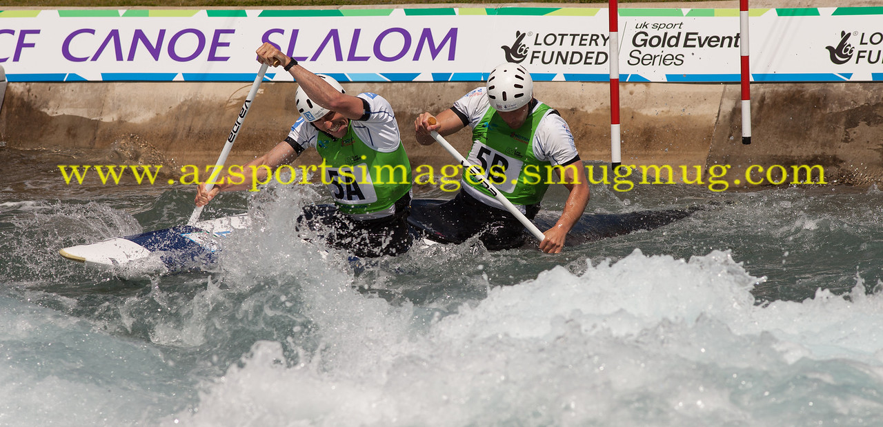 RICHARD HOUNSLOW and DAVID FLORENCE Great Britain, 5th at the 2014 ICF CANOE SLALOM WORLD CUP- Men's Canoe Doubles (C2). Lee Valley White Water Centre
