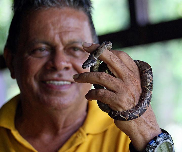 Boa Constrictor baby with hotel guide Carlos