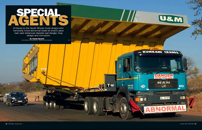 SPECIAL TRANSPORT IN SOUTHERN AFRICA, PUBLISHED IN TRUCKING MAGAZINE (UK)