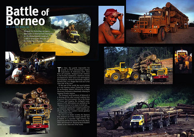 LOGGING TRANSPORT IN BORNEO, PUBLISHED IN TRUCKING MAGAZINE NEW ZEALAND