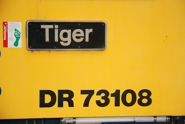 close up of number and name plate of DR 73108