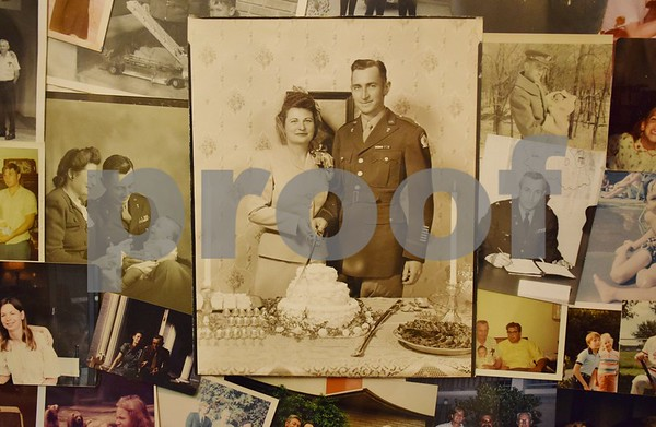 This collage of photos shows the life of 104-year-old Charles Long, include a picture on his wedding day in 1945 with his wife of 63 years, Mary Maxine Haney.