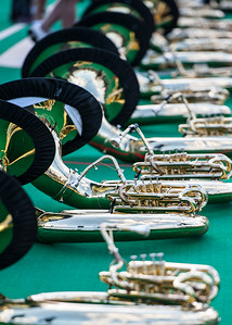 The Marching 110 practices on Pruitt Field to prepare for the Homecoming Game on Wednesday, October 10, 2012.