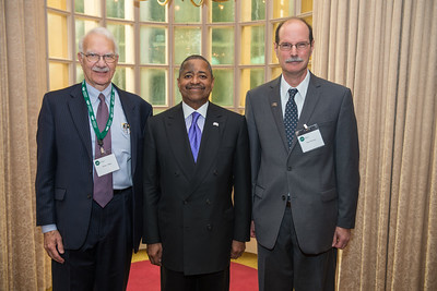 (Left to Right) James Tilling, Ohio University President Roderick McDavis and Professor and Director of the Voinovich School Mark Weinberg at the 30th Annual State Government Alumni Luncheon. Photo by Ben Siegel