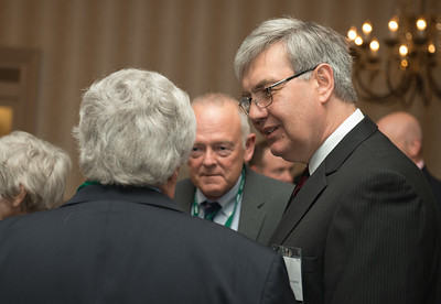 Newly appointed chancellor of the Ohio Board of Regents and Ohio University Alum John Carey talks with Ohio University Trustee David Brightbill at the 30th Annual Ohio University State Government Alumni Luncheon in Columbus. Photo by Ben Siegel
