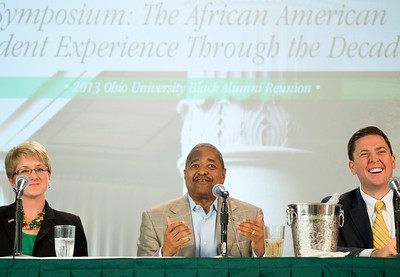 "Ohio University President Dr. Roderick J. McDavis speaks at a Symposium at Alden Library from 11 to noon, titled ""The African American Student Experience Through the Decades"" hosted by the Black Alumni Reunion on Saturday, September 28, 2013."