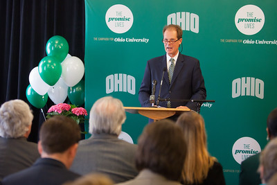 The Promise Lives Campaign celebrates passing it's goal of raising $450 million, with 14 months remaining in the campaign.  Photo by Ohio University / Jonathan Adams