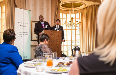 Kenneth N. Wilson addresses the Ohio University State Government Alumni Luncheon on Tuesday, May 5, 2015. Wilson was given the Outstanding State Government Alumnus Award.  Photo by Ohio University  /  Rob Hardin