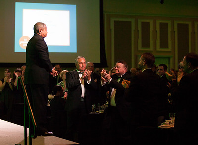 Perry Sook and Steven Schoonover, along with other audience members, give President Roderick McDavis a standing ovation at the Promise Lives Campaign Celebration Gala on Friday, Sept. 11, 2015. Photo by Kaitlin Owens