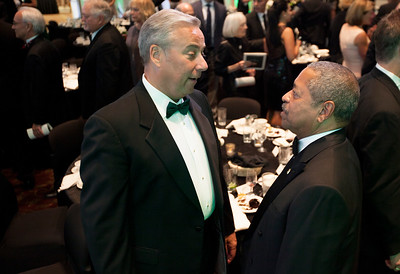 Perry Sook and President Roderick McDavis talk after the Promise Lives Campaign Celebration Gala on Friday, Sept. 11, 2015. Photo by Kaitlin Owens