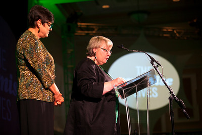 Sandy Anderson and Pam Benoit introduce the new Cutler Herrold Society during the Promise Lives Campaign Celebration Gala on Friday, Sept. 11, 2015. Photo by Kaitlin Owens