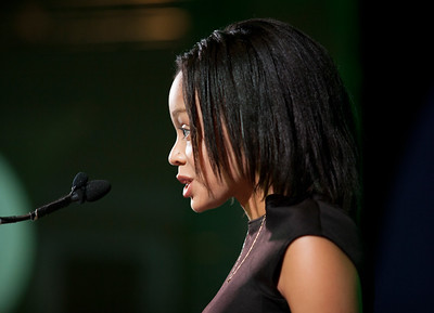 Taijuan Moorman speaks during the Promise Lives Campaign Celebration Gala on Friday, Sept. 11, 2015. Photo by Kaitlin Owens