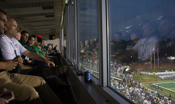 President Nellis greets fans in the Presidents box