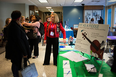 "LANCASTER, OHIO   MARCH 23, 2018: Attendees browse the booths during the Celebrate Women Conference 2018, themed ""Recognizing Our Superpowers"" on March 23, 2018 at Ohio University Lancaster in Lancaster, Ohio.  Ty Wright photo"