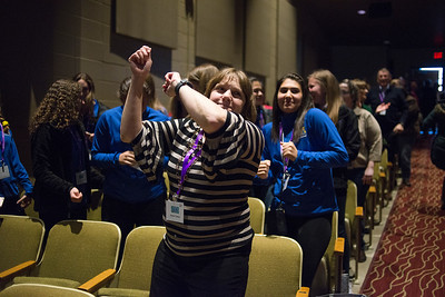 "LANCASTER, OHIO   MARCH 23, 2018: Audience members got out of their seats to dance after Michelle Poler, founder of Hello Fears, addressed the crowd in the Wagner Theatre as one of the keynote speakers during the Celebrate Women Conference 2018, themed ""Recognizing Our Superpowers"" on March 23, 2018 at Ohio University Lancaster in Lancaster, Ohio.  Ty Wright photo"