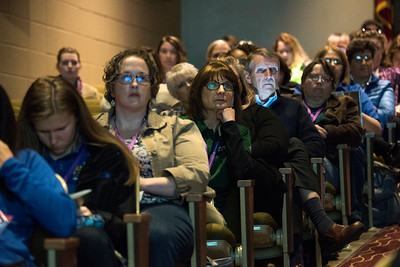 "LANCASTER, OHIO   MARCH 23, 2018: Audience members listen as Michelle Poler, founder of Hello Fears, talks about how she faced 100 of her fears in 100 days in the Wagner Theatre as one of the keynote speakers during the Celebrate Women Conference 2018, themed ""Recognizing Our Superpowers"" on March 23, 2018 at Ohio University Lancaster in Lancaster, Ohio.  Ty Wright photo"