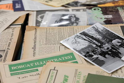 Photo by Max Catalano, BSVC 20'   The Ohio University Archives on display at Alden Library on October 17. The display is open to everyone and contains memoirs of the University.