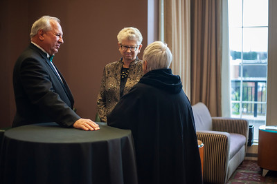 2018 Alumni Awards dinner and gala guests chatted with First Lady Ruthie Nellis outside Baker Ballroom. Photo by Ellee Achten