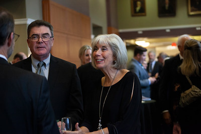 Lively conversations filled the air outside Baker Center Ballroom last week during the 2018 Alumni Awards Gala. Photo by Ellee Achten