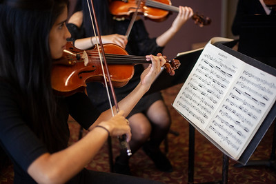 Music from a collection of stringed instruments set the tone for guests arriving at the 2018 Alumni Awards Gala during Homecoming Week. Photo by Ellee Achten