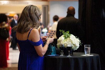 A woman checks her images from the nearby photobooth stationed at the entrance to the 2018 Alumni Awards Gala last week. Photo by Ellee Achten