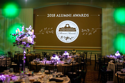 Baker Ballroom was decked out in elegant greens and golds for the 2018 Homecoming Week Alumni Awards Gala. Photo by Ellee Achten