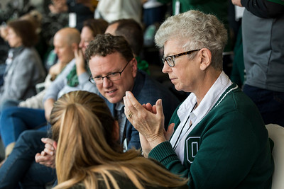 Photo by Max Catalano, BSVC 20'   Ruthie Nellis watches the Homecoming Football game in the President's Box on October 20.