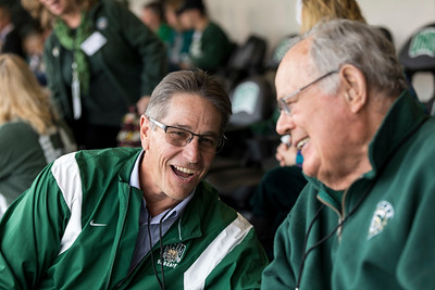 Photo by Max Catalano, BSVC 20'   Spectators watch the Homecoming Football game in the President's Box on October 20.