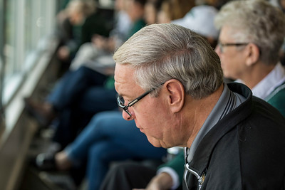 Photo by Max Catalano, BSVC 20'   President Nellis watch the Homecoming Football game in the President's Box on October 20.
