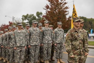 Photo by Max Catalano, BSVC 20'   ROTC members at the start of the Ohio University 2018 Homecoming Parade on October 20.