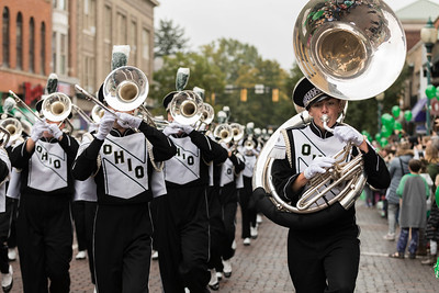Photo by Max Catalano, BSVC 20'   Marching 110 performs at the Ohio University 2018 Homecoming Parade on October 20.