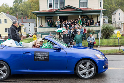Photo by Max Catalano, BSVC 20'   Distinguished Service Awardee Willam E. Ball at the Ohio University 2018 Homecoming Parade on October 20.