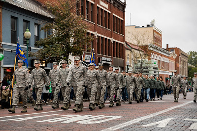 Photo by Max Catalano, BSVC 20'   ROTC members marching at the Ohio University 2018 Homecoming Parade on October 20.