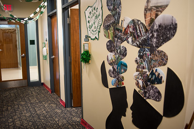 "Human and Consumer Sciences (McCracken Hall 121) went conceptual and dug into the library archives for photos from past homecomings to explode out of the ""mind"" for their Paint the Town Green entry"